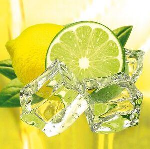 Glasbild Fresh Lemon Lime kalte Limone Zitrone Wasser Küche Genuss ...
