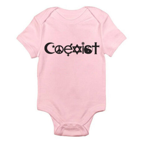 Peace Fun Themed Baby Grow Suit Novelty COEXIST SILHOUETTE Humorous