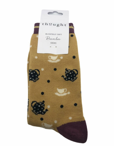 New Yellow Thought Clothing Teapot /& Teacup Print Bamboo Socks