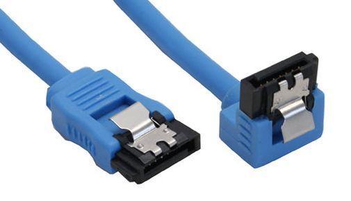 SATA Kabel rund abgewinkelt blau mit Lasche 0,15m