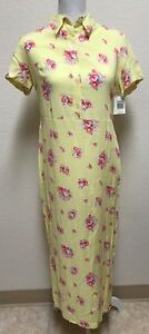 Basic-Editions-Women-039-s-Yellow-Floral-Dress-Size-8-BRAND-NEW-WITH-TAG