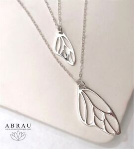 Sterling-Silver-925-Butterfly-Fairy-Wing-Pendant-Necklace-16-034-or-18-034