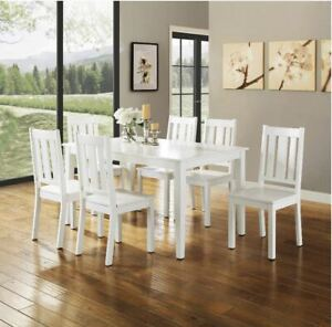 Details about 7 Piece White Dining Room Table Set Chair Kitchen Breakfast  Nook Farm Furniture