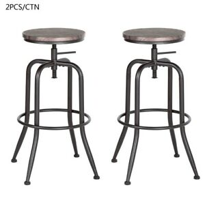 Pleasing Details About Industrial Vintage Wood Bar Stool Height Scroll Up With Leg Stopper Metal Leg Pabps2019 Chair Design Images Pabps2019Com