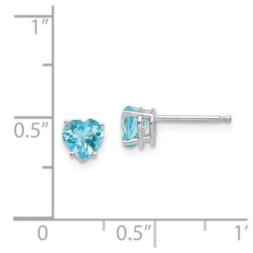 14kt White Gold 5mm Heart Blue Topaz Earrings