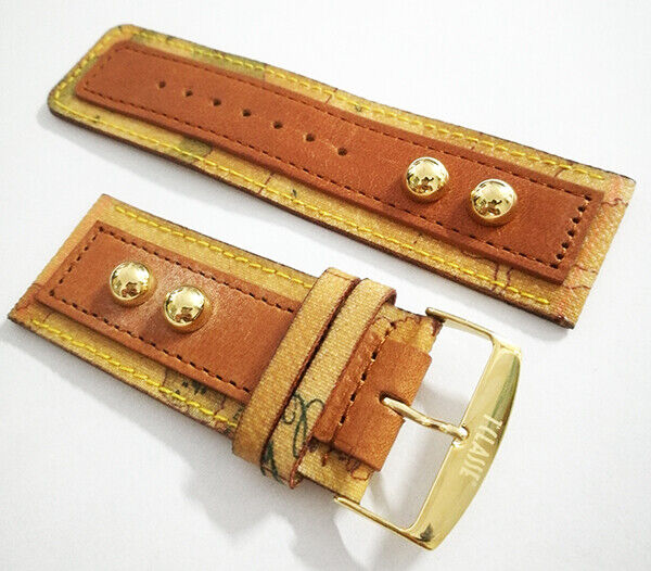 Alviero Martini 1° Classe Leather Watch Strap Limited Edition MM 28 Studs Gold