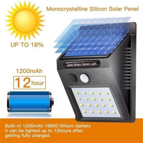 4 Pcs 20 LED Solar Powered PIR Motion Sensor Wall Security Light Lamp Outdoor QE