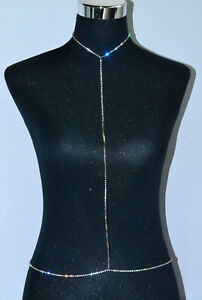 New-Women-Body-Full-Metal-Body-Chain-JEWELRY-Necklace-Bikini-Belly-Harness-Silve