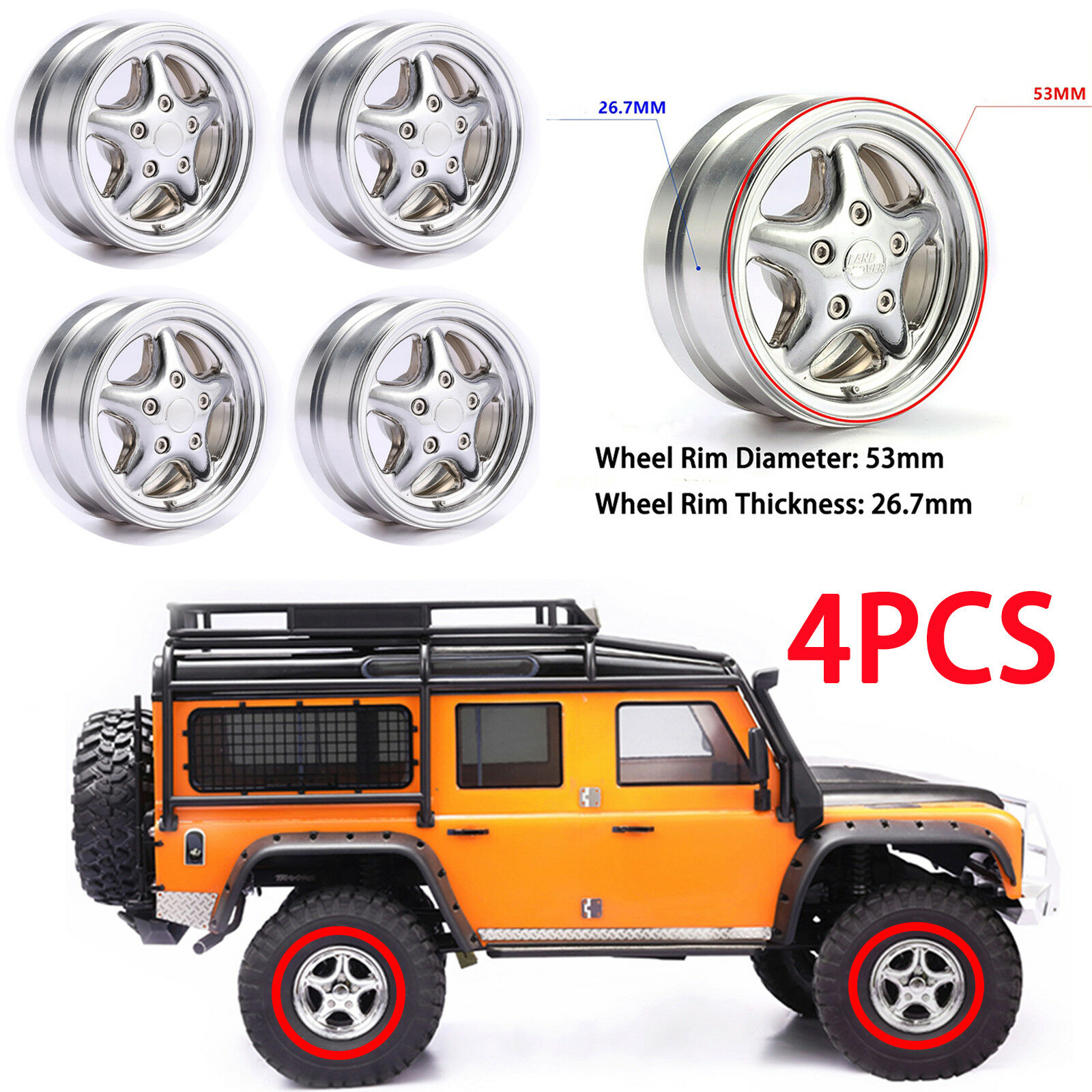 4PCS 1.9  Metal Wheel Hub Rims Set for Traxxas TRX4 Land Over RC4WD Other RC Car