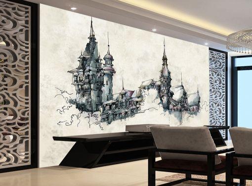 3D Castello nero 34 Parete Murale Carta da parati immagine sfondo muro stampa