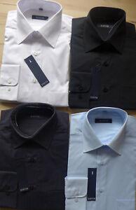 Kastor-Herren-Hemd-Langarm-weiss-schwarz-schwarz-gestreift-blau-Gr-M-L-XL
