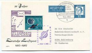 1962 50 Jahre Deutsche Luftpost Befordert Rakete Prv 1/we Sahlenburg Flughafen