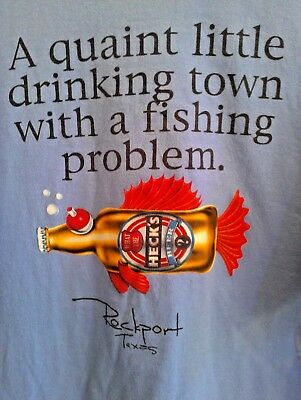 3XL light blue T Shirt FUNNY! ROCKPORT TEXAS what the heck's BEER fish BAR drink