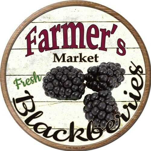"Farmers Market Blackberries 12/"" Round Metal Kitchen Sign Novelty Retro Decor"