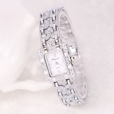 New Women's Bracelet Watch Stainless Steel Silver Crystal Dial Quartz Watch