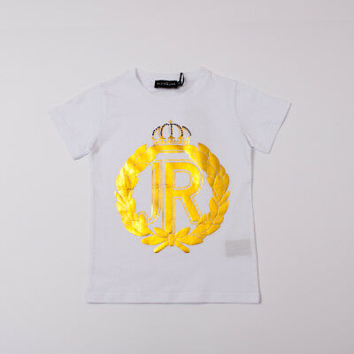 """j 10/12a T-shirt Bianca Con Logo Jr Oro Richmond"" 18459ts P/e 2018-50% Rich And Magnificent"
