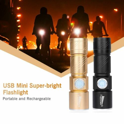 1//2//5X USB Rechargeable Bright Mini Cree LED Torch Flashlight Beam Focusing Zoom