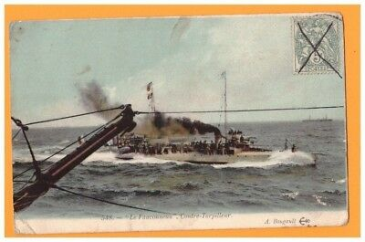"""Inteligente Bateau De Guerre / Contre-torpilleur """"le Fauconneau"""" En 1907 Paquete Elegante Y Robusto"""