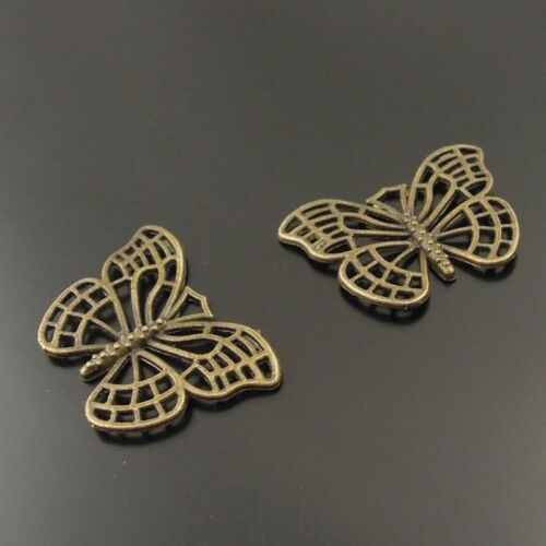 38107 Antique Style Bronze Tone Alloy Butterfly Pendentif Finding Charm 60 pcs