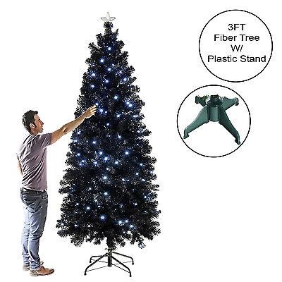 3FT 6FT BLACK SLIM SPRUCE FIBER OPTIC CHRISTMAS TREE TRADITIONAL WHITE BLUE LEDS