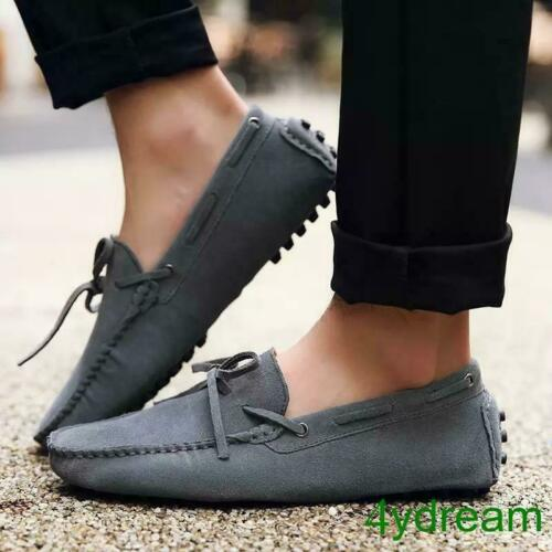 Fashion Mens Suede Slip On Knotted Casual Driving Shoes Loafers Moccasin-gommino