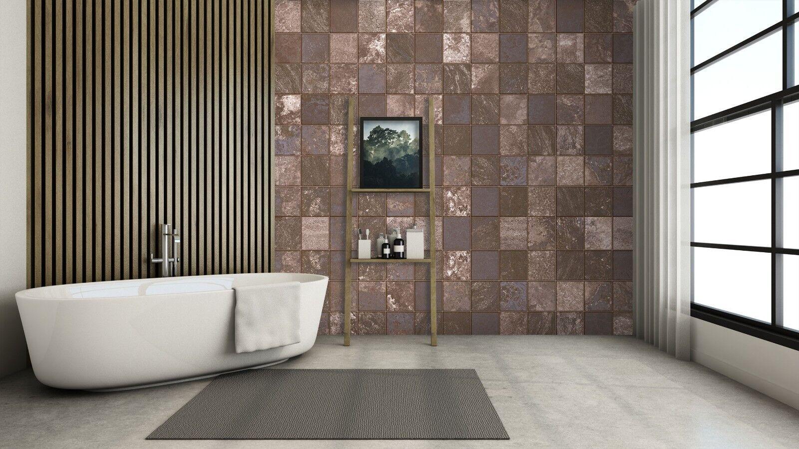 3D Retro braun Quadrat 2 Textur Fliesen Marmor Tapete Abziehbild Tapete Wandbild