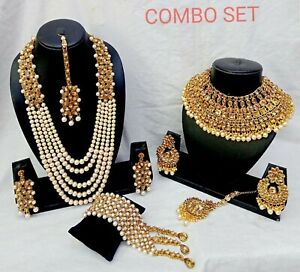 Indien Ethnique Bollywood Mariage Perle Bijoux Collier Earrings Set