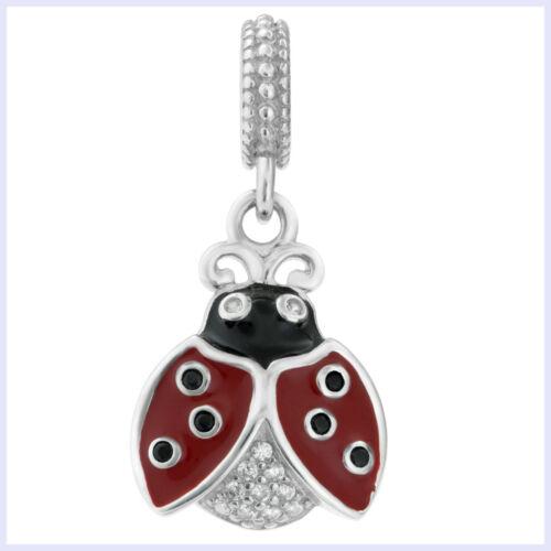 Sterling Silver Ladybug Enamel Clear CZ Dangle Bead for European Charm Bracelet