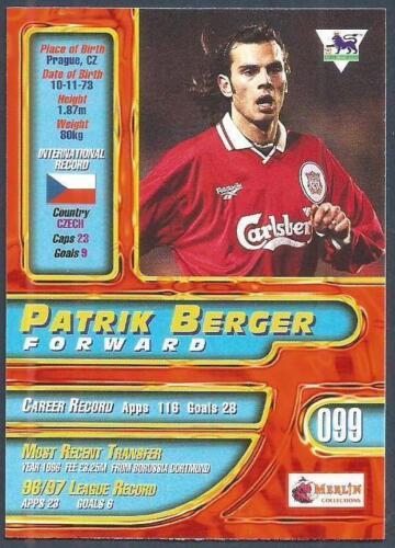 #099-LIVERPOOL /& CZECH REPUBLIC-PATRIK BERGER MERLIN PREMIER GOLD 1998
