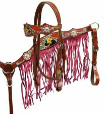 Showman Pink Fringe Headstall Breastcollar Hand Painted Tooling Crystal Stones