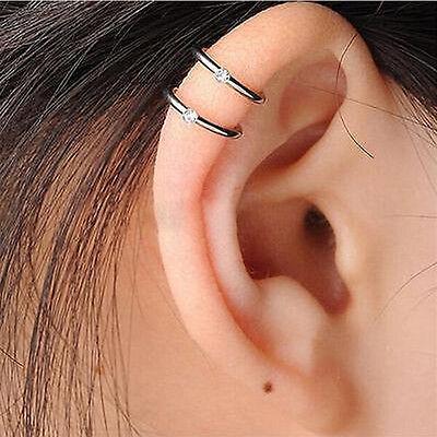 Nose Ring Ear Hoop Tragus Helix Cartilage Earrings Crystal Stainless Steel $TCA
