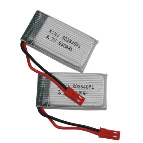 2pcs 3.7V 650mAh 25C 802540 JST plug Polymer Li Battery  for SYMA X5SW RC Drones