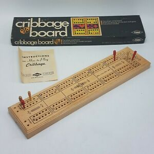 Vintage-Cribbage-Board-Game-E-S-Lowe-1968-CIB-w-Insturctions-amp-Pegs