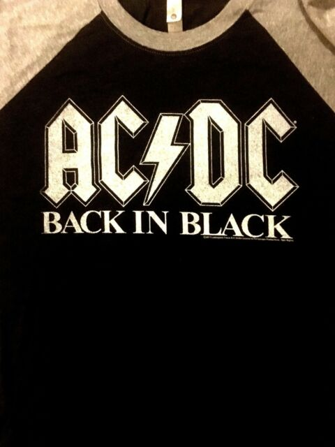 AC/DC cd lgo BACK IN BLACK Official 3/4 SLEEVE RAGLAN SHIRT XL new