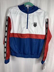 K Swiss Woman S Jacket W Hood Absolute Zero Windbreaker Size S White Red Blue Ebay