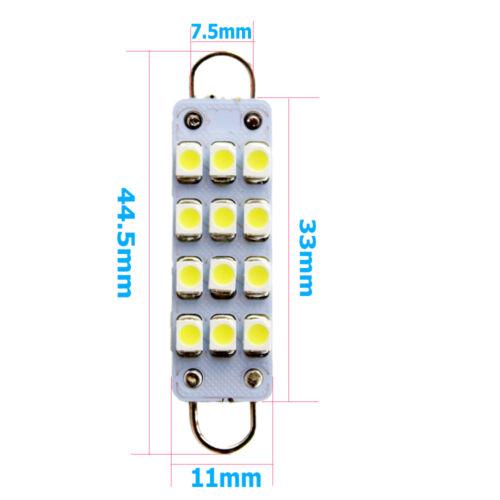 2Pcs White 44MM Festoon 1210 12SMD Rigid Loop LED Cargo Dome light Bulb 561 564