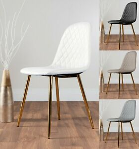 2x Corona Faux Leather Modern Dining Chairs Seats Chrome Silver Gold Metal Legs Ebay