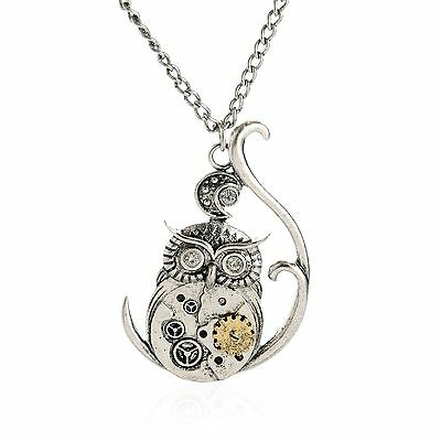 Retro Silver Chain Steampunk jewelry owl machinery gear pendant necklace Choker