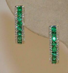 1-11-Ct-Emerald-And-Diamond-Hoop-Earrings-In-14K-White-Gold-Over-Silver-925