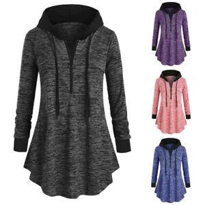 Women-Plus-Space-dyeing-Long-Sleeve-Hooded-Sweatshirt-Tunic-Tops-T-Shirt-Blouse