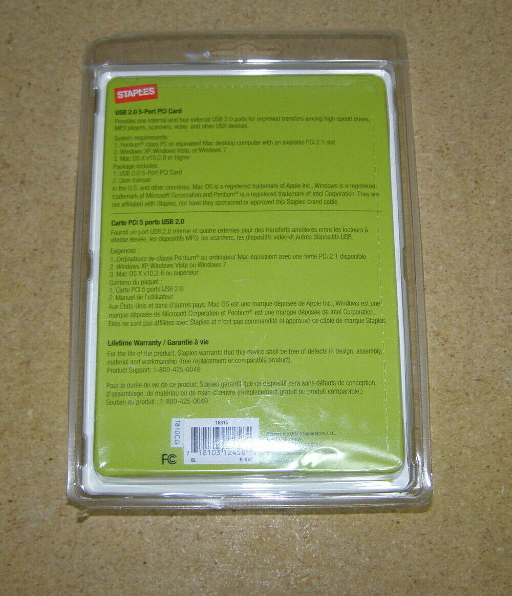 Staples USB 2.0 5-PORT PCI Card MAC or PC New Sealed