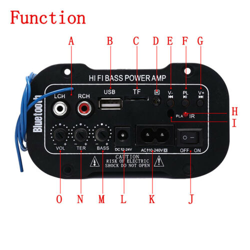 Remote* Auto Car Bluetooth HiFi Bass Power Stereo Digital Amplifier AMP USB TF