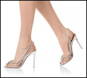 Womens Clear Open Toe Rhinestone Shoes