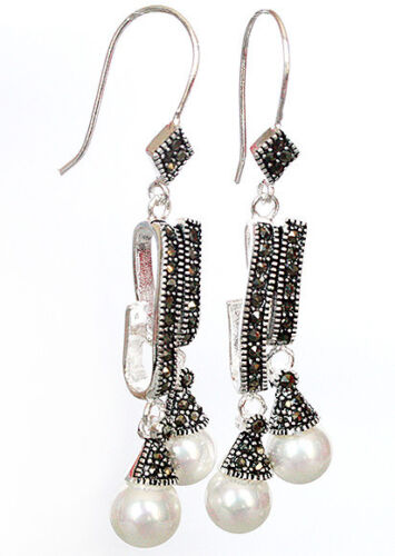 Natural MARCASITE 925 STERLING SILVER  SHELL PEARL DANGLE right girl EARRINGS