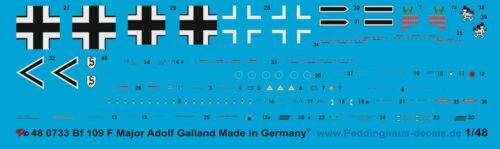 Adolf Galland Peddinghaus  1//48 0733 Luftwaffen Asse Bf 109 F Obstlt