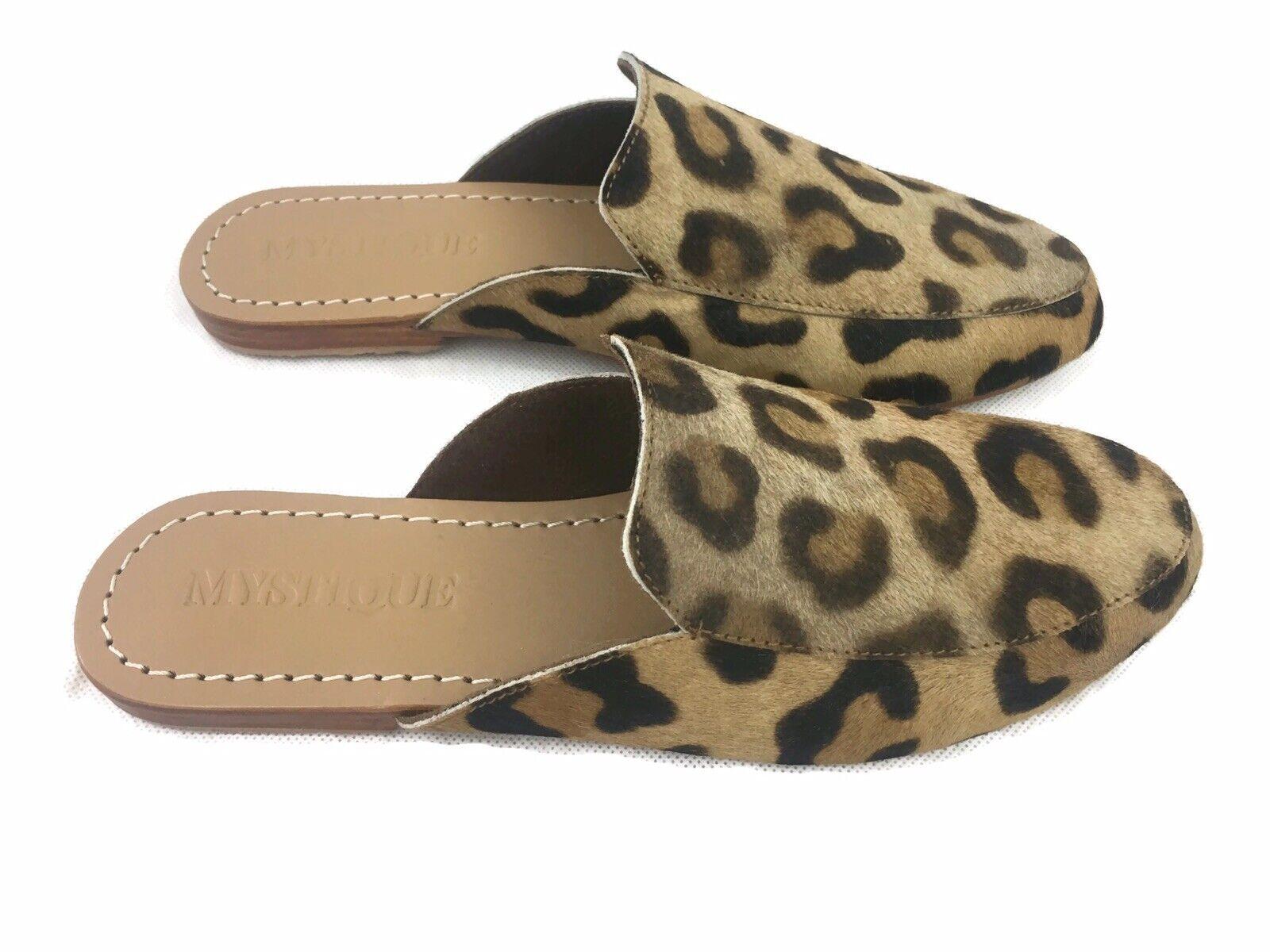 Mystique Leopard Leather Mule Sandals - UK 5 US 7 EU 38 -   - New
