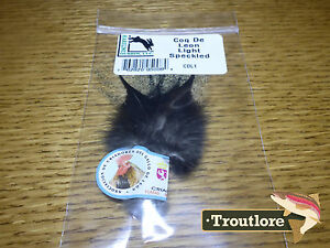 HARELINE-COQ-DE-LEON-LIGHT-SPECKLED-PARDO-DRY-FLY-TAIL-FEATHERS-NEW-FLY-TYING