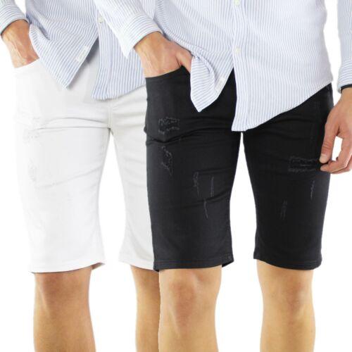 Bermuda Uomo Jeans Pantaloncini Bianco Nero Cotone Slim Fit Corto Strappati