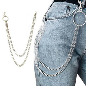 Double-Strands-Key-Chain-Rock-Punk-Trousers-Pant-Jean-Hip-Hop-Jewelry
