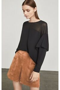 178-NEW-WOMEN-BCBG-MAX-AZRIA-Ruffle-Sleeve-Sheer-Yoke-Blouse-SZ-XS-Black